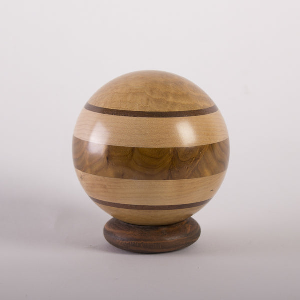 Bulls-Eye Banded Decorative Hardwood Sphere