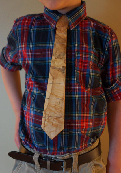 """Black Speckled Spalted Maple"" Solid Wooden Tie - Woodland Inspirations - 3"