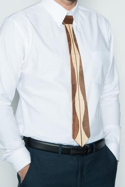 Vertical Striped Hardwood Necktie