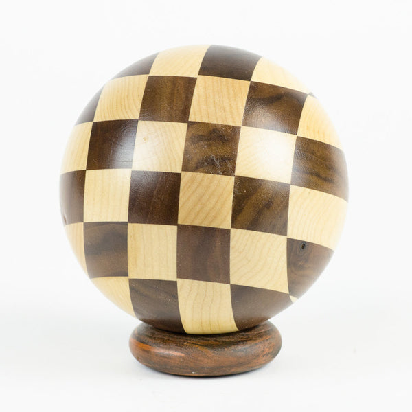 Mapel & Walnut Hardwood Checkerboard Sphere - Woodland Inspirations - 1