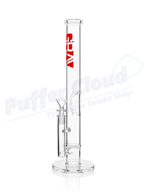 "16"" GRAV Straight Base Water Pipe w/ Disc Perc - ClearWater PipeGRAVRed - Puffer Cloud 