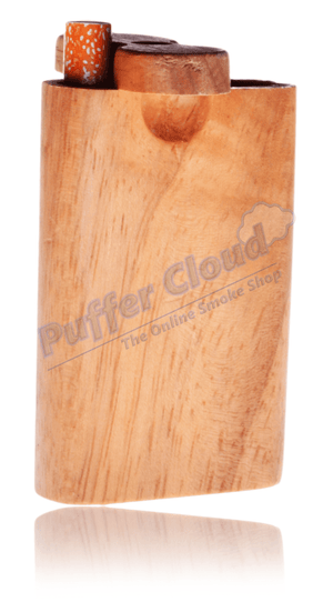 "3"" Wooden Dugout w/ One Hitter BatHand PipePuffer Cloud - Puffer Cloud 