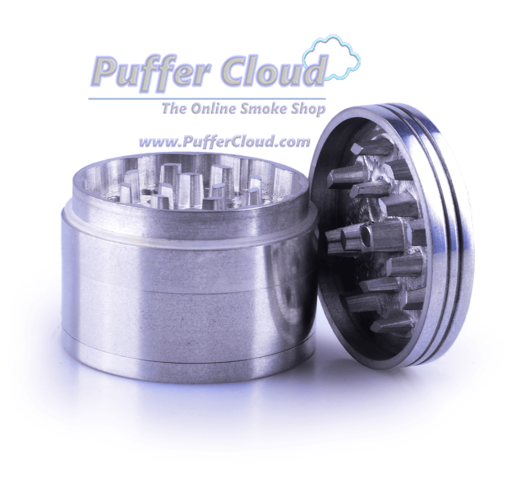 4-Piece Metal Grinder w/ Diamond-Cut Teeth - 32mm - Puffer Cloud | The Online Smoke Shop