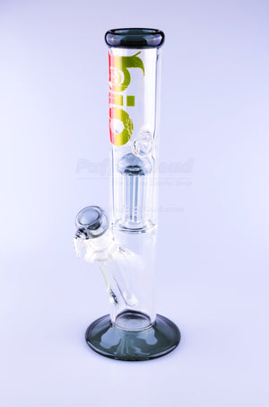 "12"" Bio Single Tree Percolator Straight Water PipeWater PipeBio Hazard GlassGrey w/ Rasta Bio Logo - Puffer Cloud 