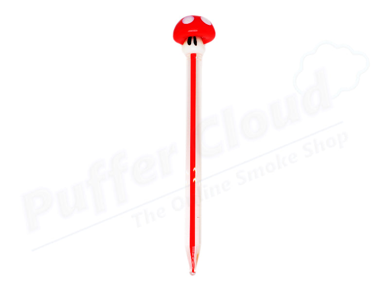 Red 4.5 inch Super Mario Themed Glass Mushroom Dabber Tool / Carb Cap - Puffer Cloud The World's Best Online Headshop