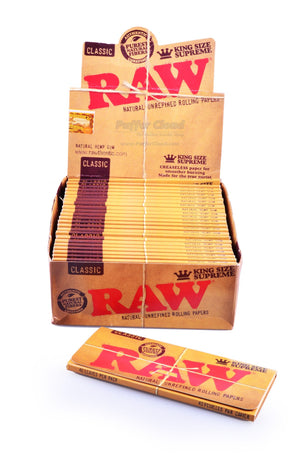 RAW - 24 Pack Box Of King Size Supreme Rolling Papers - Puffer Cloud | The World's Best Online Smoke and Head Shop