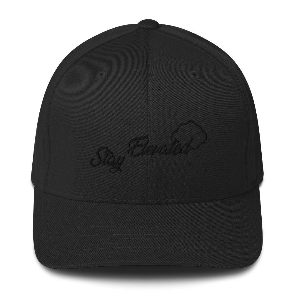 Stay Elevated Baseball Hat - Embroidered Black Logo - Puffer Cloud | The World's Best Online Smoke and Head Shop