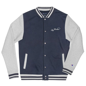 Stay Elevated Varsity Bomber Jacket - Puffer Cloud | The World's Best Online Smoke and Head Shop