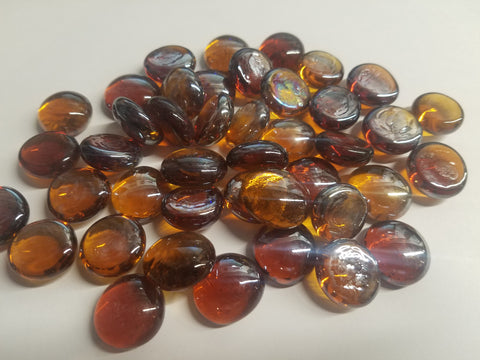 Amber Luster Flat Beads - CLEARANCE - Fireglass Pebbles & Flat Beads - Fire On Glass