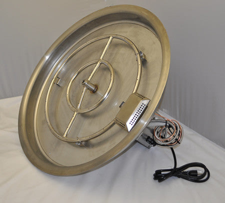 "25"" Round Fully Assembled Fire Pit - Round Burner Pans,Fire Pit Burner Pans - Fire On Glass"