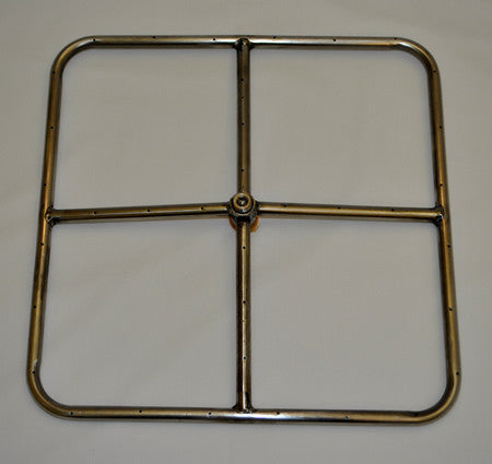 "Stainless Steel Square Burner 12"" To 24"" - Burners - Fire On Glass"