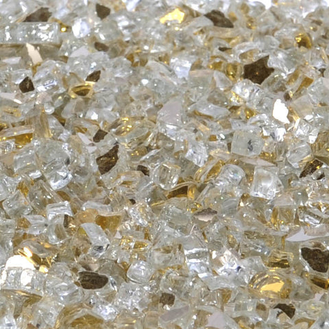 "1/2"" Casino Gold Metallic / Gold Reflective - Fireglass Crystals - Fire On Glass"