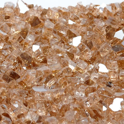 "1/4"" Copper Penny Metallic / Champagne Reflective - Fireglass Crystals - Fire On Glass"