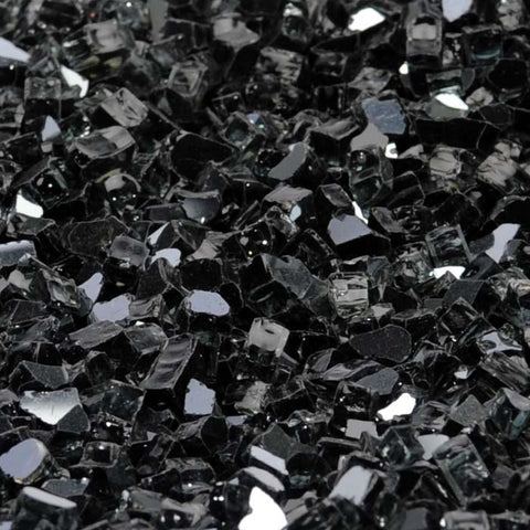 "1/2"" Onyx Black Metallic / Black Reflective - Fireglass Crystals - Fire On Glass"