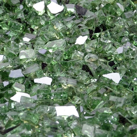 "1/2"" Rainforest Green Metallic - Fireglass Crystals - Fire On Glass"
