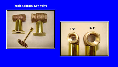 "Fireplace Key Angle or Straight  Valve Polished Chrome or Brass 3/4"" - Burners - Fire On Glass"