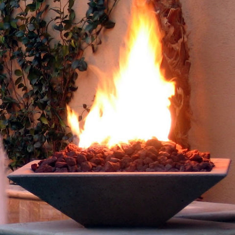 Square Stone Fire Bowl -  - Fire On Glass