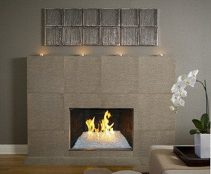 "18"" Complete Metallic Fireglass Fireplace Kit - Fireplace Glass Kits - Fire On Glass"