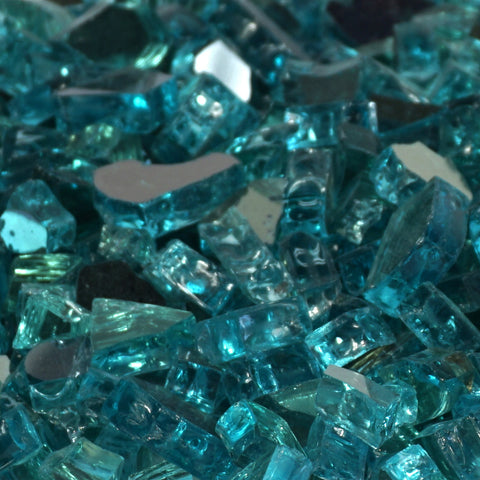 "1/4"" Caribbean Blue Metallic / Azuria Reflective - Fireglass Crystals - Fire On Glass"