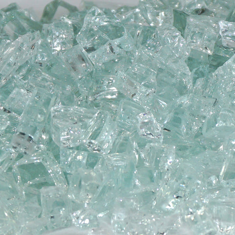 "1/4"" Icy Mint / Clear - Fireglass Crystals - Fire On Glass"