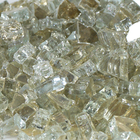 "1/4"" Titanium Metallic / Platinum Reflective - Fireglass Crystals - Fire On Glass"