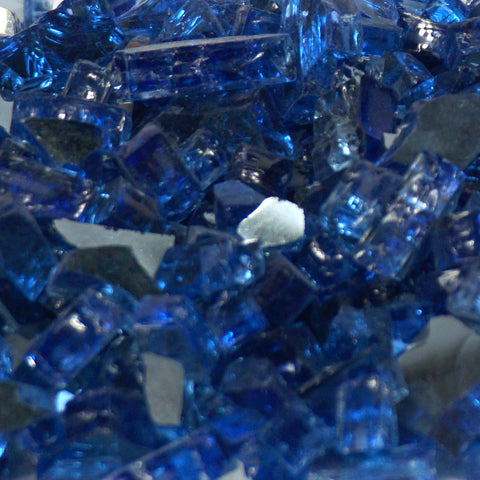 "1/4"" Royal Blue Metallic / Cobalt Blue Reflective - Fireglass Crystals - Fire On Glass"