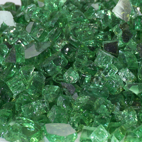 "1/4"" Rainforest Green Metallic - Fireglass Crystals - Fire On Glass"