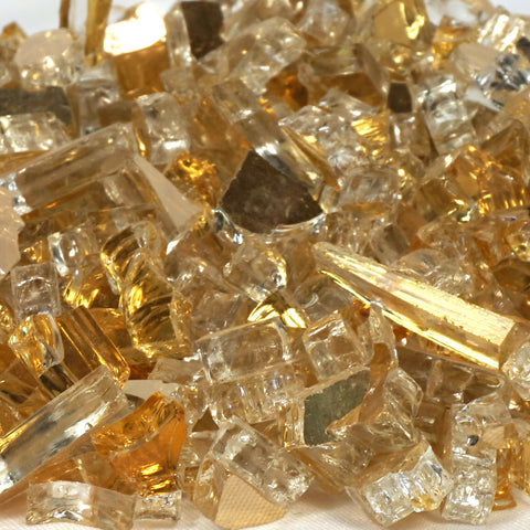 "1/4"" Casino Gold Metallic / Gold Reflective - Fireglass Crystals - Fire On Glass"
