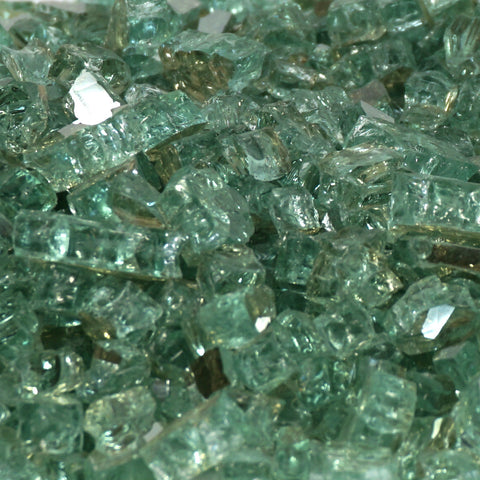"1/2"" Emerald Green Metallic / Evergreen Reflective - Fireglass Crystals - Fire On Glass"