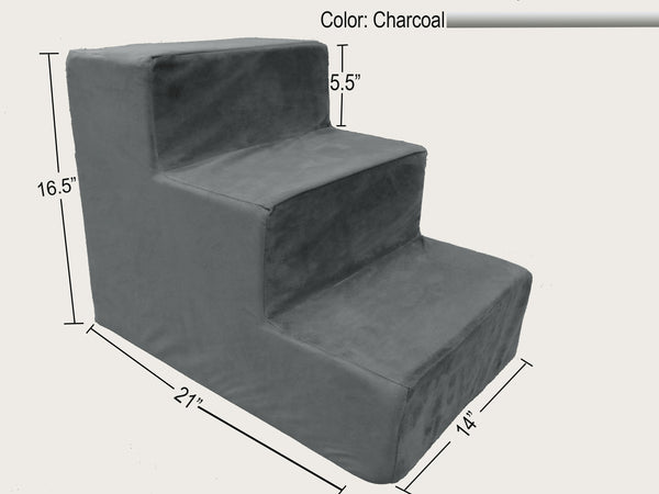 3 Step Foam Dog & Cat Stairs - Charcoal