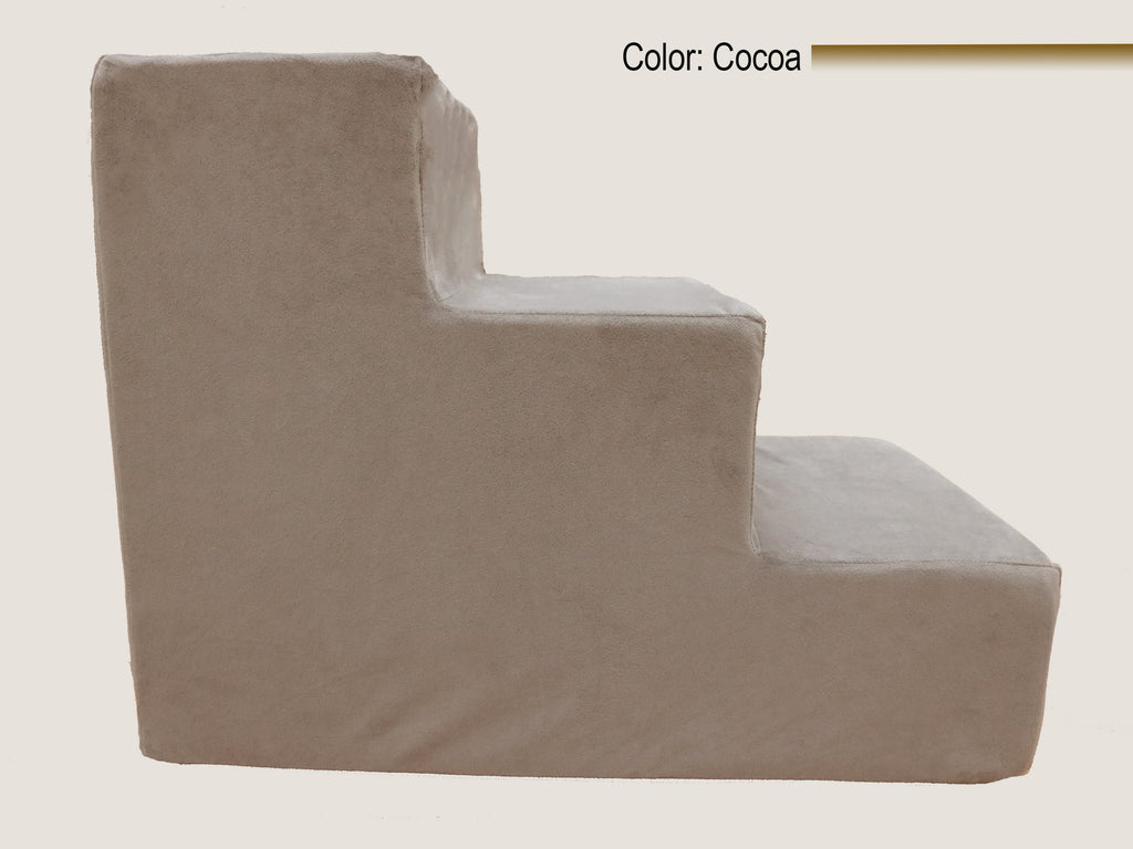 3 Step Foam Dog & Cat Stairs - Cocoa