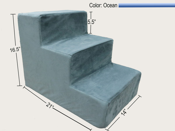 3 Step Foam Dog & Cat Stairs - Ocean