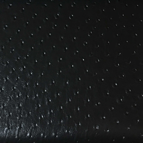 Albany - Ostrich Animal Print Vinyl Fabric Upholstery Fabric by the Yard - Available in 8 Colors - Black - Top Fabric - 1