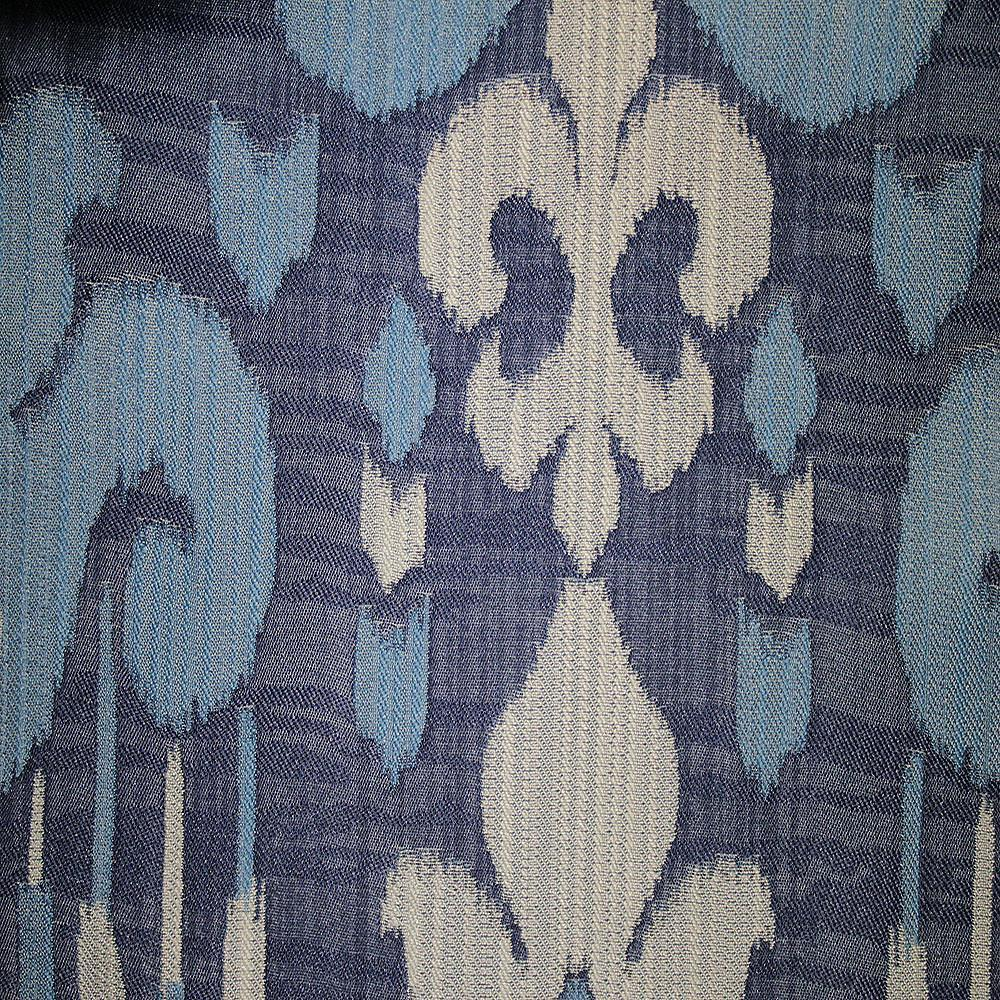Baron - Jacquard Ikat Designer Pattern Home Decor Drapery Fabric by the Yard - Available in 9 Colors - Sailor - Top Fabric - 9