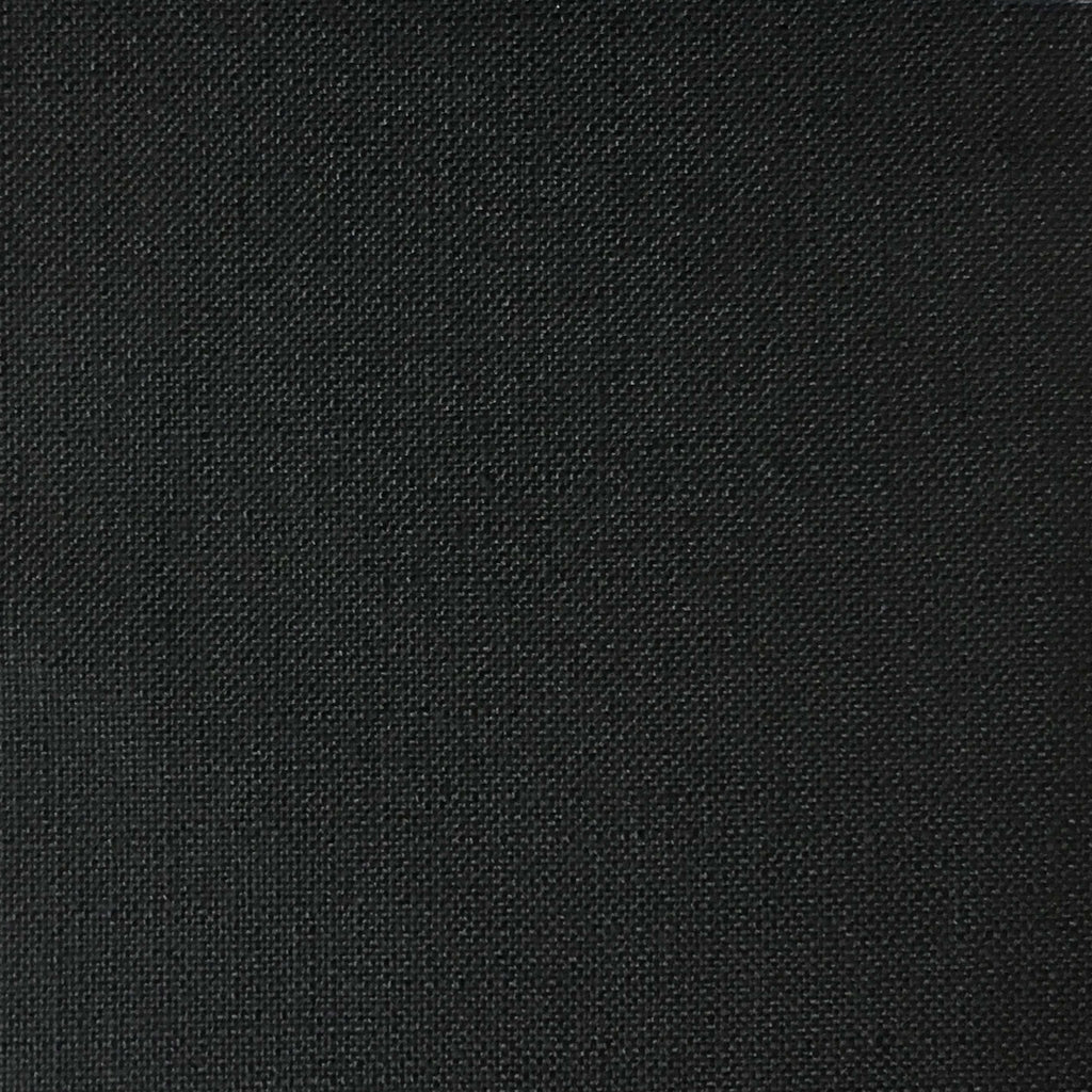 Blake - Linen Polyester Blend Burlap Upholstery Fabric by the Yard - Available in 30 Colors - Caviar w/ Backing - Top Fabric - 20
