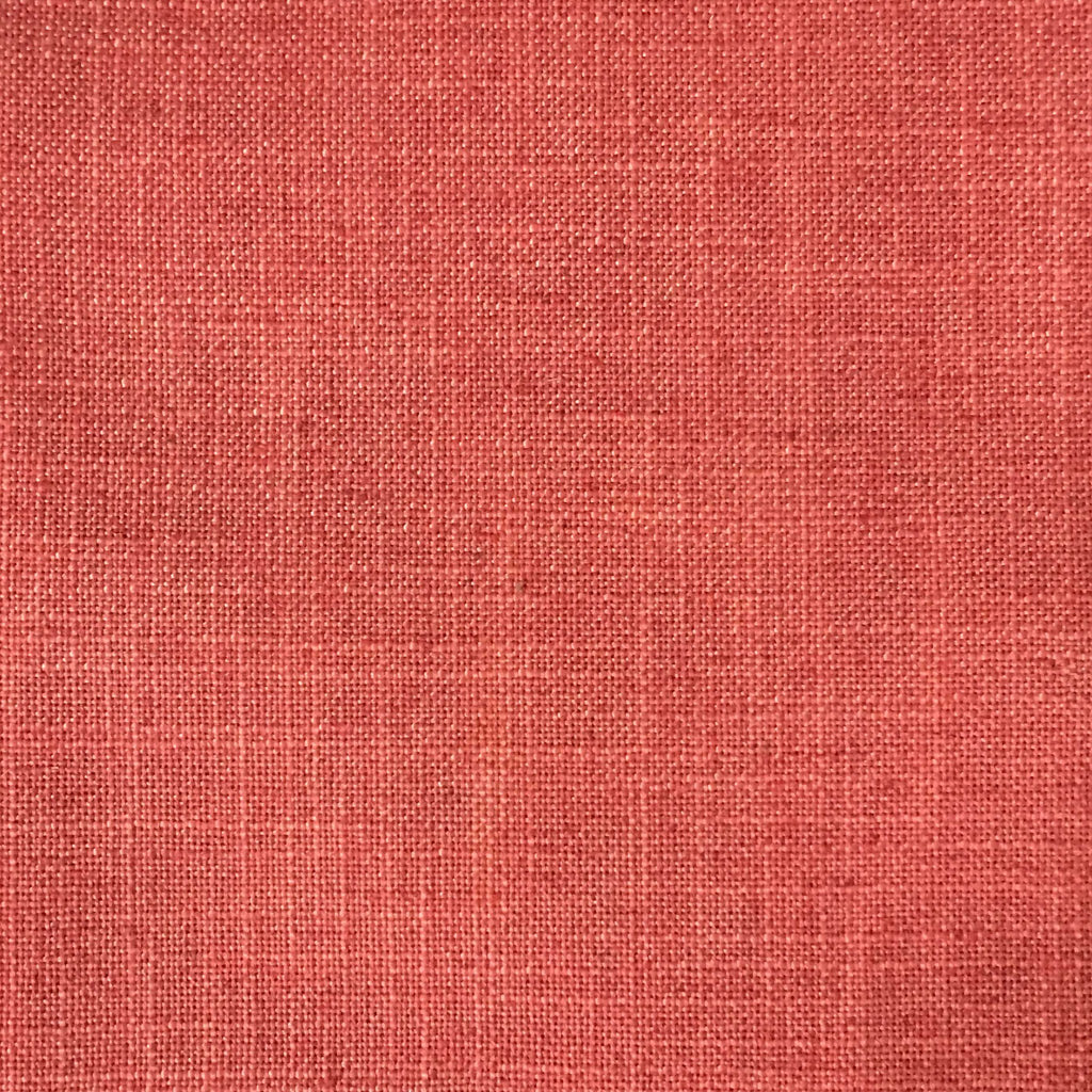 Blake - Linen Polyester Blend Burlap Upholstery Fabric by the Yard - Available in 30 Colors - Coral w/ Backing - Top Fabric - 8
