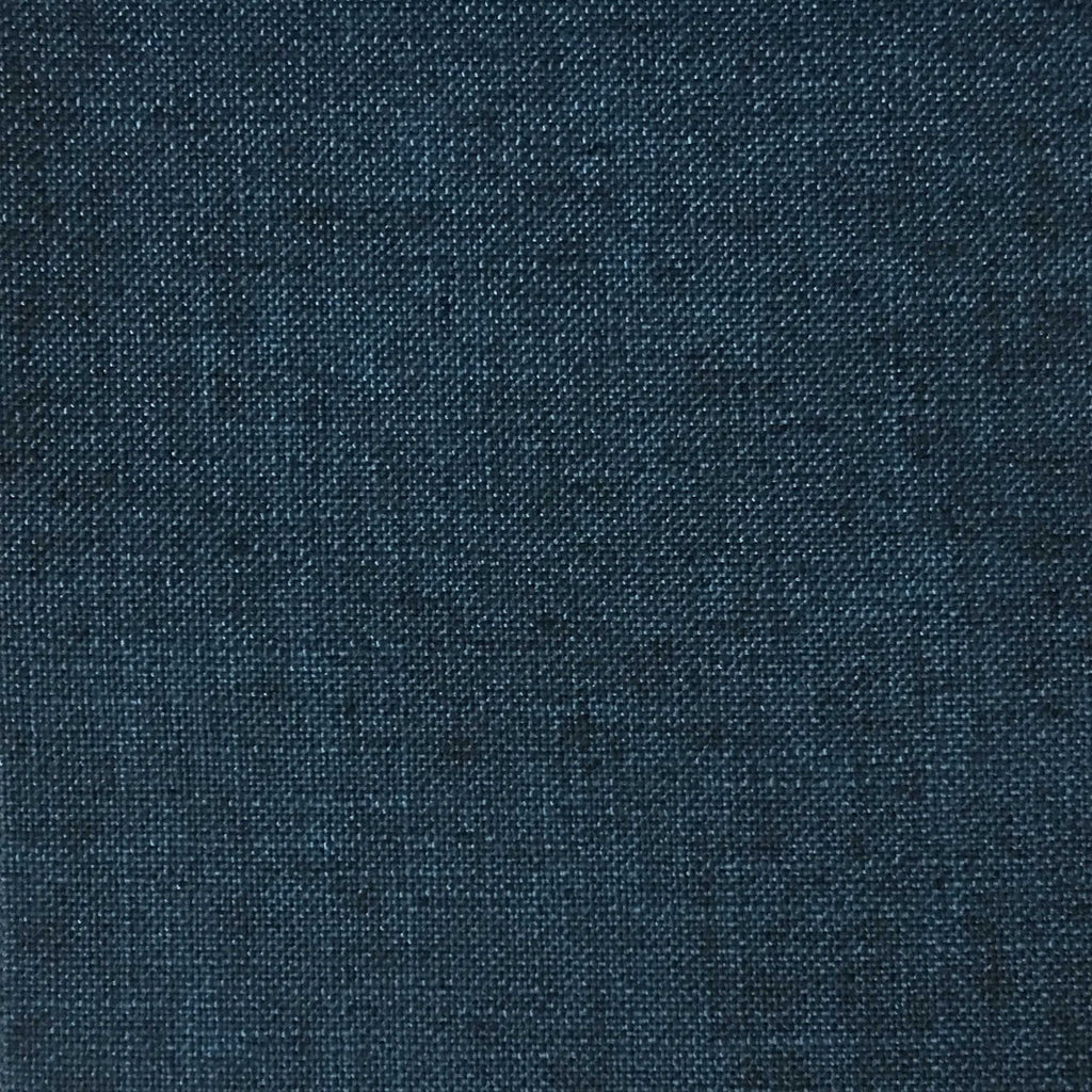Blake - Linen Polyester Blend Burlap Upholstery Fabric by the Yard - Available in 30 Colors - Navy w/ Backing - Top Fabric - 14