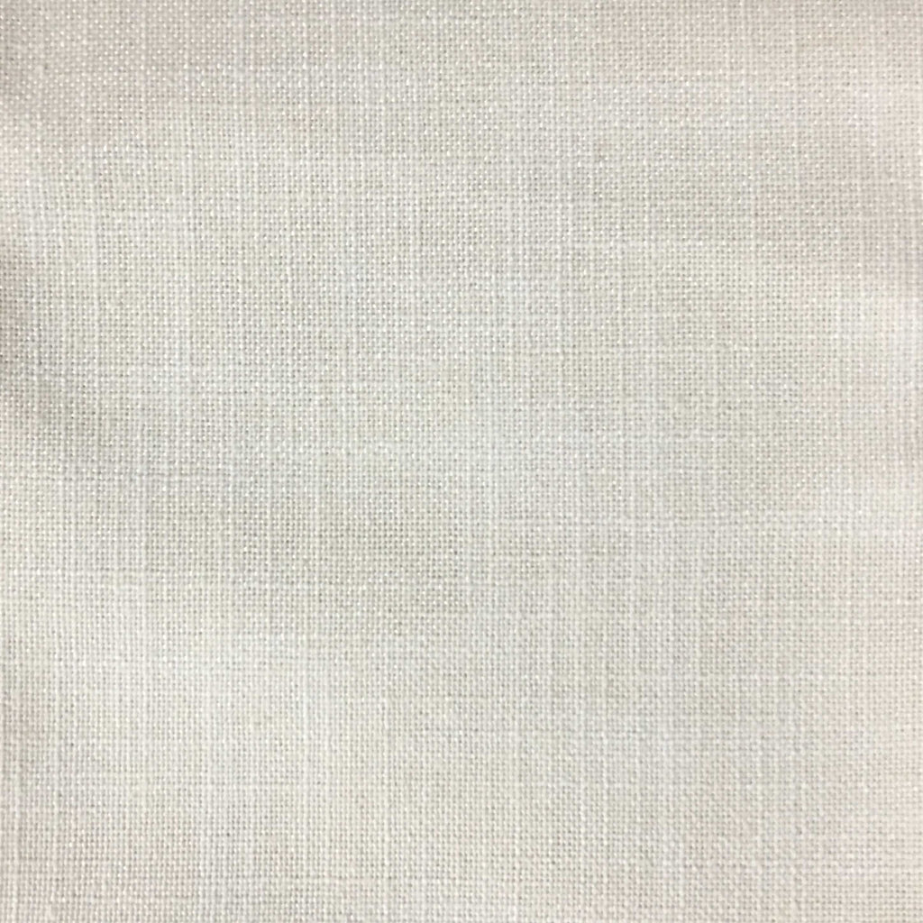 Blake - Linen Polyester Blend Burlap Upholstery Fabric by the Yard - Available in 30 Colors - White w/ Backing - Top Fabric - 30