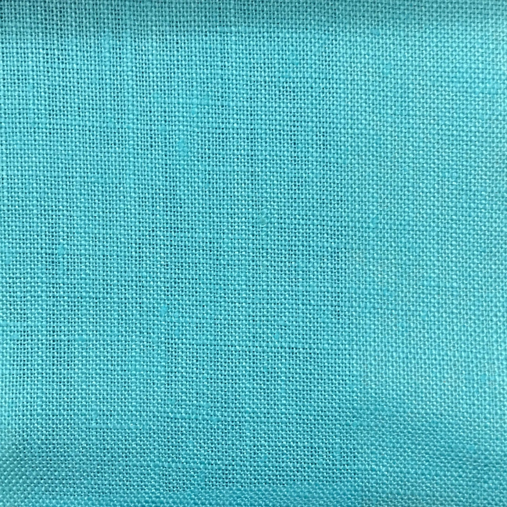 Brighton - 100% Linen Fabric Window Curtain & Drapery Fabric by the Yard - Available in 48 Colors - Aqua - Top Fabric - 33