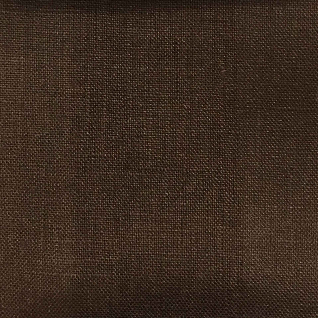 Brighton - 100% Linen Fabric Window Curtain & Drapery Fabric by the Yard - Available in 48 Colors - Chocolate - Top Fabric - 25