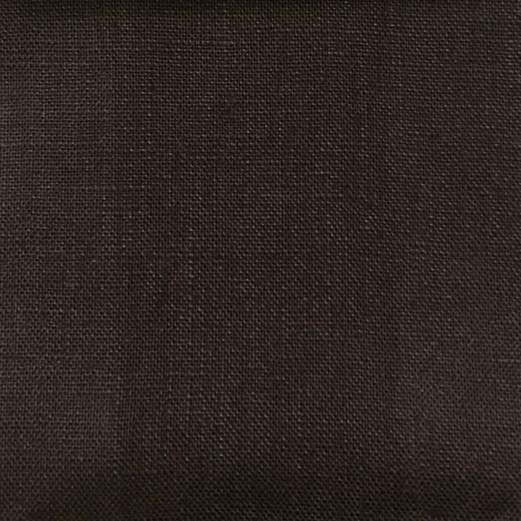 Brighton - 100% Linen Fabric Window Curtain & Drapery Fabric by the Yard - Available in 48 Colors - Dark Chocolate - Top Fabric - 26