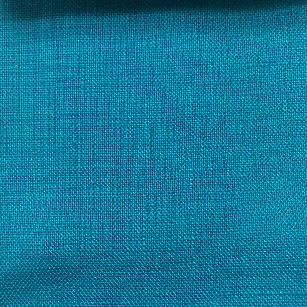 Brighton - 100% Linen Fabric Window Curtain & Drapery Fabric by the Yard - Available in 48 Colors - Turquoise - Top Fabric - 32