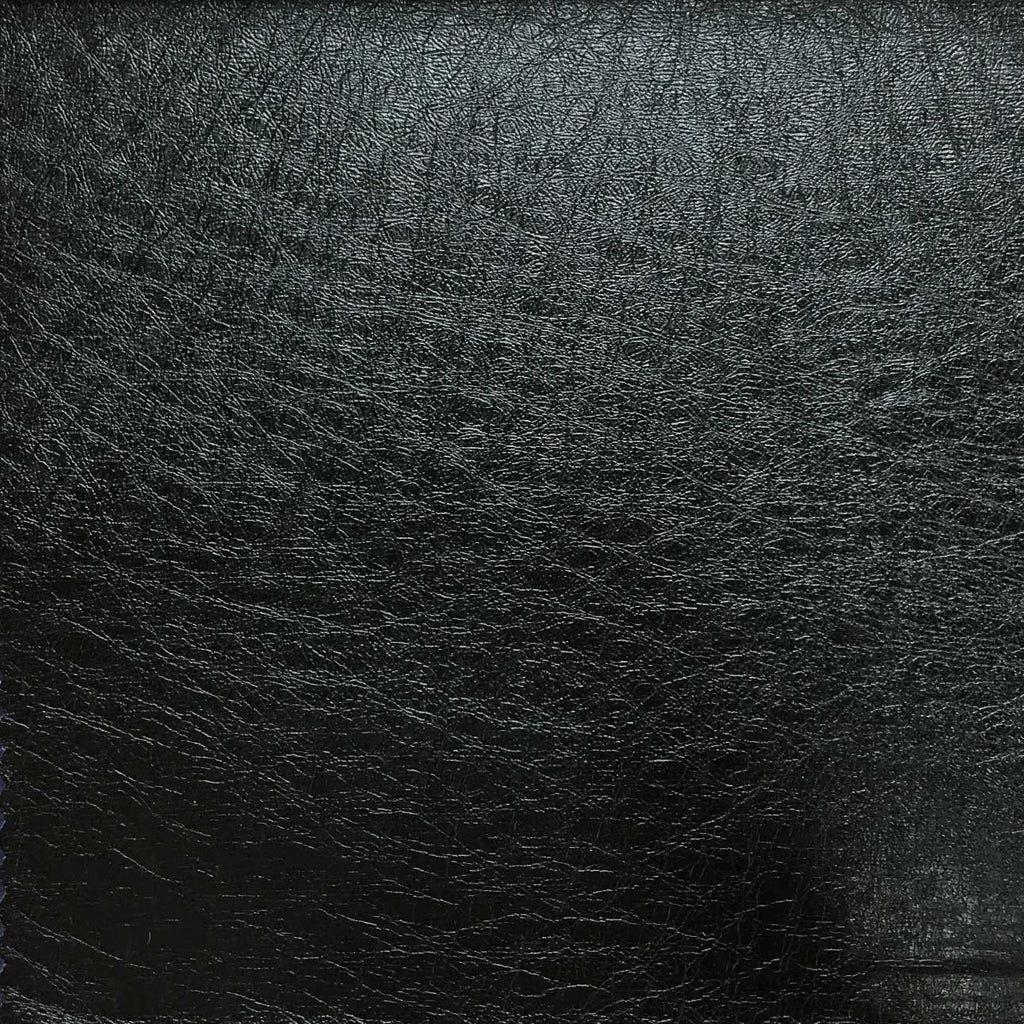 Brink - Solid Vinyl Fabric Vegan Faux Leather Upholstery Fabric by the Yard - Available in 5 Colors - Black - 5 - Top Fabric - 1