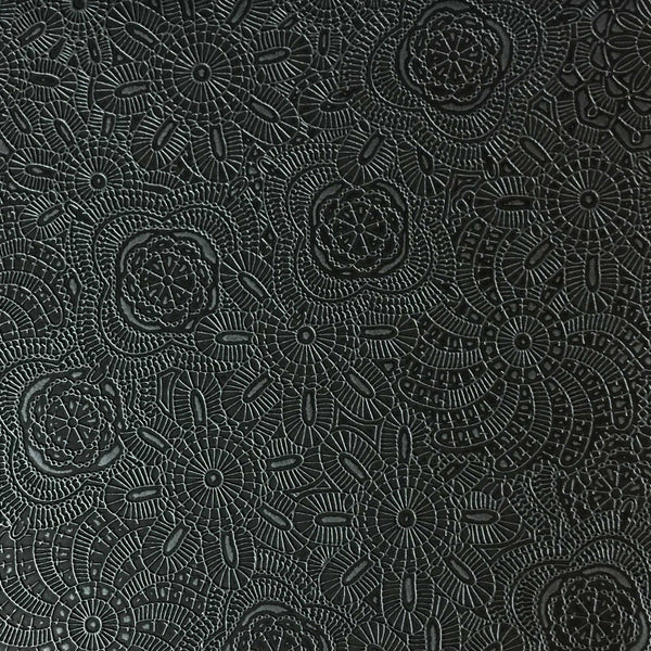 Camden - Embossed Vinyl Fabric Designer Pattern Upholstery Fabric by the Yard - Available in 10 Colors - Caviar - Top Fabric - 1