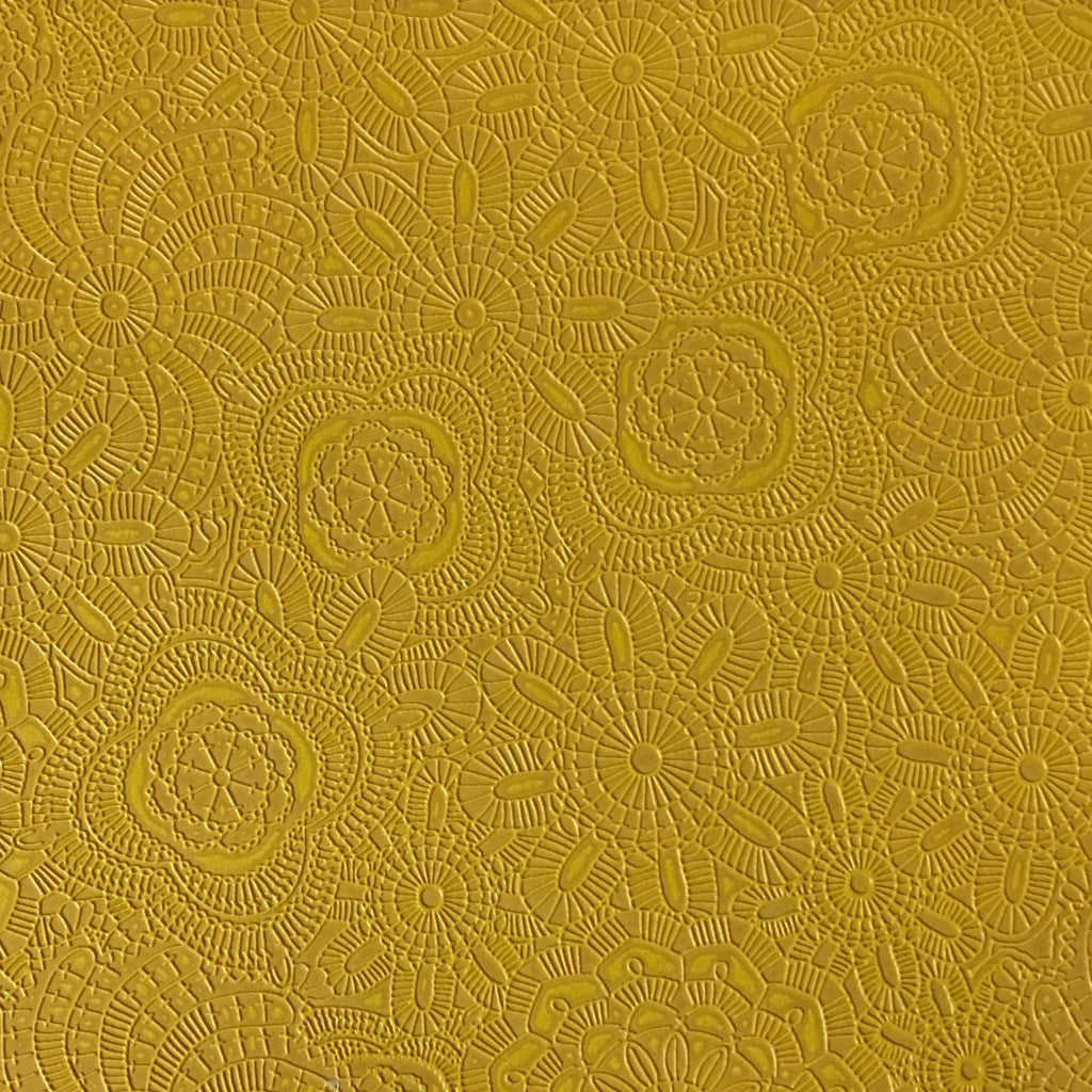 Camden - Embossed Vinyl Fabric Designer Pattern Upholstery Fabric by the Yard - Available in 10 Colors - Curry - Top Fabric - 7
