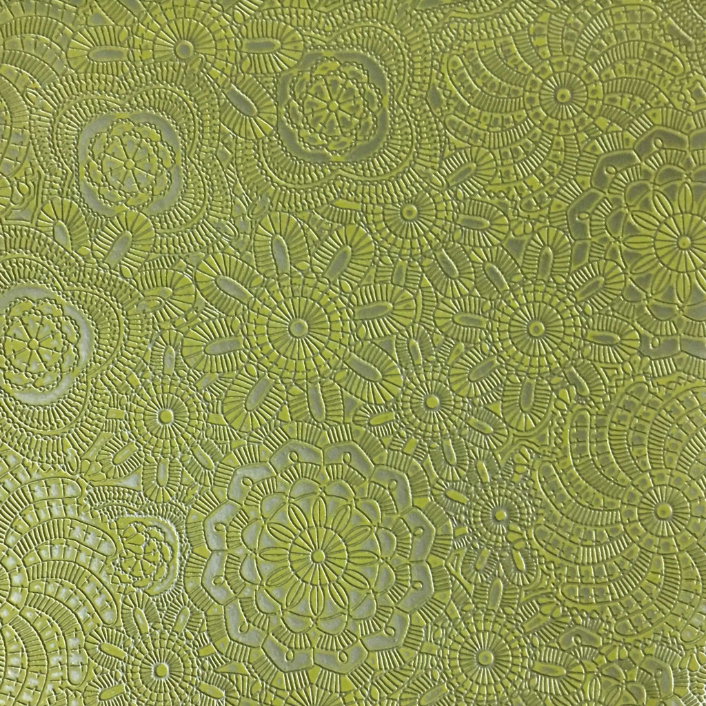 Camden - Embossed Vinyl Fabric Designer Pattern Upholstery Fabric by the Yard - Available in 10 Colors - Grass - Top Fabric - 4