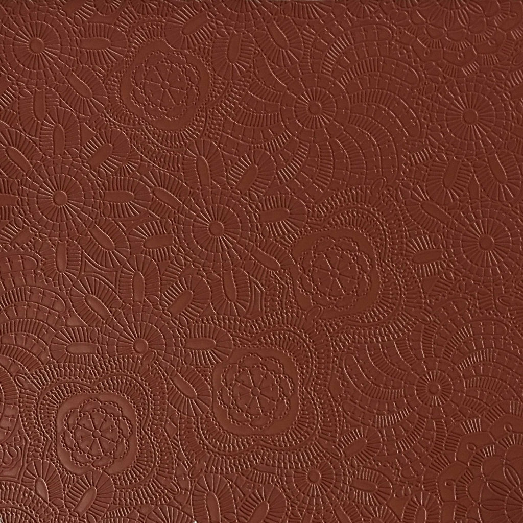 Camden - Embossed Vinyl Fabric Designer Pattern Upholstery Fabric by the Yard - Available in 10 Colors - Henna - Top Fabric - 3