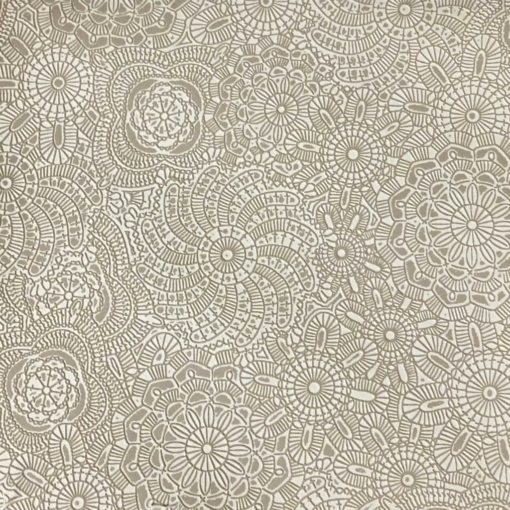 Camden - Embossed Vinyl Fabric Designer Pattern Upholstery Fabric by the Yard - Available in 10 Colors - Linen - Top Fabric - 5