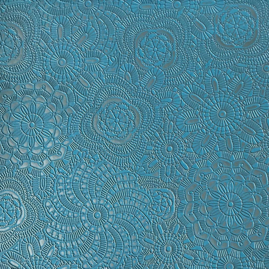 Camden - Embossed Vinyl Fabric Designer Pattern Upholstery Fabric by the Yard - Available in 10 Colors - Peacock - Top Fabric - 6