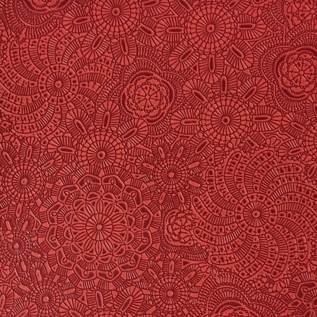 Camden - Embossed Vinyl Fabric Designer Pattern Upholstery Fabric by the Yard - Available in 10 Colors - Poppy - Top Fabric - 2